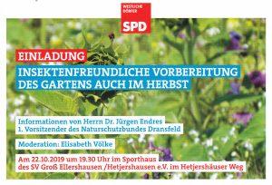 Insektenfreundliche Vorbereitung des Gartens @ Sporthaus des SV Groß Ellershausen/Hetjershausen